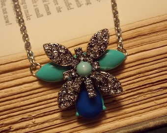 Green and Blue Firefly Necklace