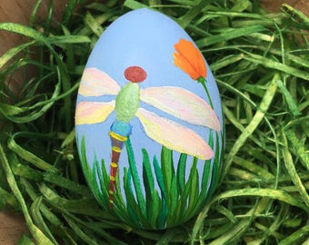 Hand Painted Easter Egg with Dragonfly and Tulip - Spring Decor