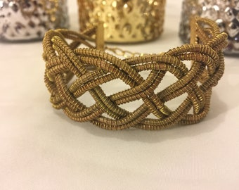 Open Braid Bracelet Hand-Woven with Pine Needles and Gold