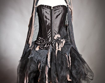 Custom Size black and tan Burlesque zombie corset dress with cape