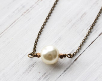 Pearl chain necklace, single pearl necklace, pearl choker, boho style, layering necklace, minimalist necklace, bridesmaid jewelry