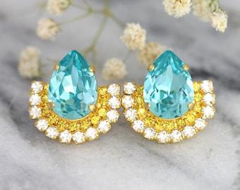 Aquamarine Earrings, Christmas Gift, Yellow Blue Earrings, Swarovski Earrings, Bridal Turquoise Earrings, Gift For her, Swarovski Blue Studs