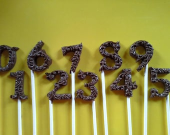 Chocolate number lollipops