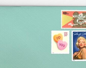 Posts (5) 2 oz wedding invitations - Marilyn Monroe unused vintage postage stamp sets (2 ounce 71 cent rate)