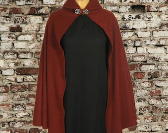 Fleece Burgundy Hooded Cape Cloak, Medieval LARP LOTR Cosplay Costume, Halloween Accessory, Role Playing