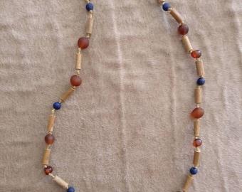 Hazlewood, Amber, blue lapislazuli necklace