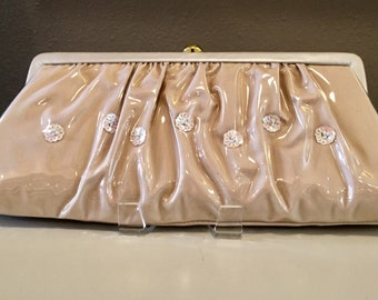 1960s Gathered Plastic Sequined Clutch Purse