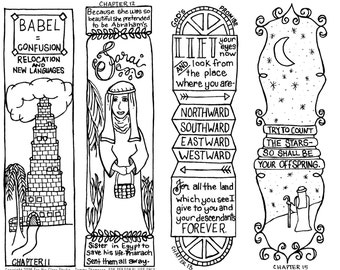 Genesis Chapters 11-15  #20 - bible journaling, black and white, PDF, sketches, bookmarks, coloring, bible verses, journaling