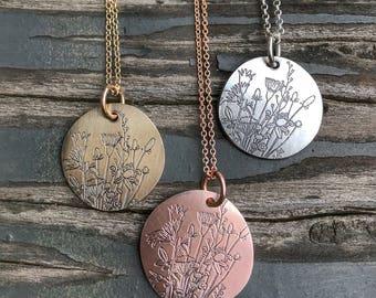 Floral pendant, wildflower pendant, wildflower necklace, flower jewelry, floral, flower necklace