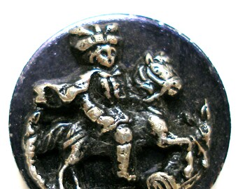 "Royal Rider BUTTON, Antique Victorian horse & king in blue, 9/16""."