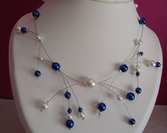 Necklace cornflower blue and white beads