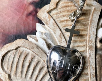 1800s antique French sterling silver reliquary pendant, 19th century French sterling Heart of Jesus pendant