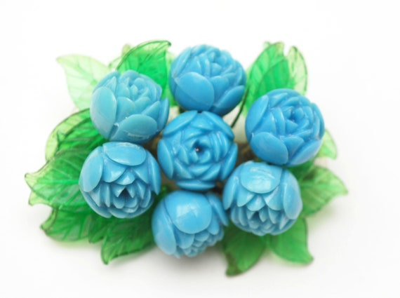 Blue Celluloid Flower brooch - Early Miriam Haskell style - light green translucent Lucite  - Cluster bead  pin - floral pin