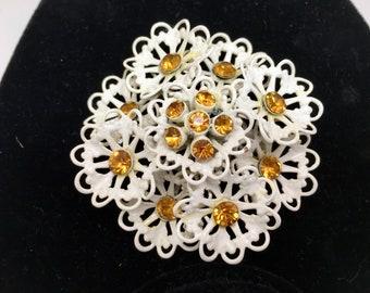 Orné complexe Art Nouveau victorien antique Vtg blanc émail métal dentelle motif fleurs or centres de strass mariée mariage RAS de cou