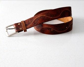 vintage tooled leather belt, 1970s brown belt