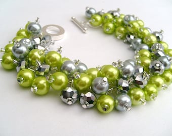 Bridesmaid Jewelry, Lime Green and Silver Pearl Beaded Bracelet, Cluster Bracelet, Pearl Bracelet, Bridesmaid Gift - Jewelry By Kim Smith