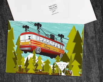 """Greeting Card """"Skiway, No Way!"""" with Pawlie n Ester Cats Portland Oregon Mt Hood"""