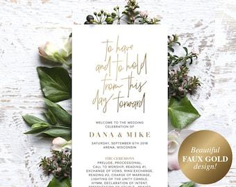 Wedding Program Template, Gold Wedding Program Printable, Ceremony Printable Template, Editable Program, PDF Instant Download #BPB323_3