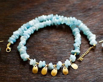 Aquamarine, Gold Plated Silver Necklace with Matching Earrings