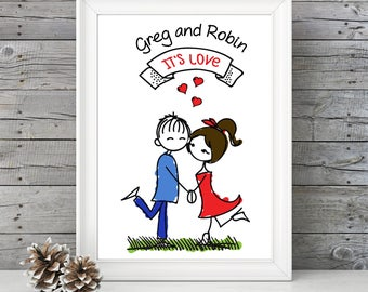 PERSONALIZED: It's Love Print - Valentine's Day, Birthday, Anniversary, Wedding, Engagement, Couples, Bridal Shower Gift idea