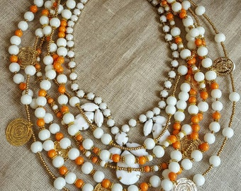 Multistrand white orange and gold necklace, white statement necklace, colorful layered necklace, summer 2016 jewelry trend, trending choker