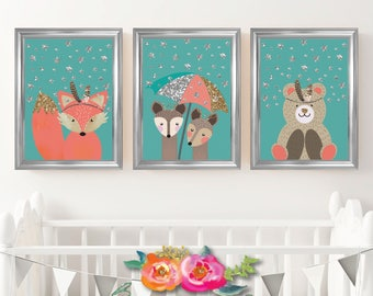 Set Of 3 Glitter Woodland Nursery Print Foxy Fox, Dearest Deer, Baby Bear