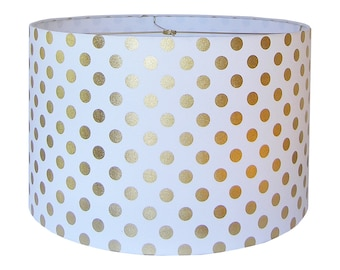 Drum Lamp Shade Lampshade Pendant Gold Dot by Caitlin Wilson Made to Order