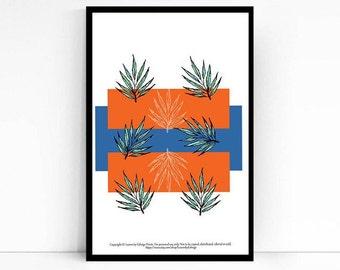 blue orange palm leaf - 5x7 inch artwork - home decor wall art - tropical leaves - botanical print  - nature inspired - housewarming gifts