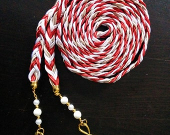 Red and Champagne Infinite Love Wedding Handbraided Handfasting Cord