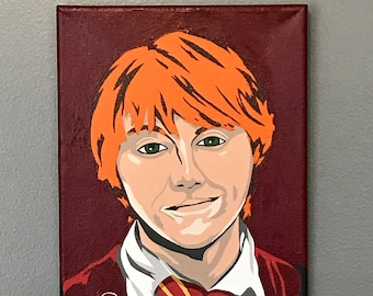 "8""x10"" ORIGINAL ""The Wizarding World of Ron Weasley"" acrylic Harry Potter pop art painting - Rupert Grint JK Rowling Gryffindor ginger magic"