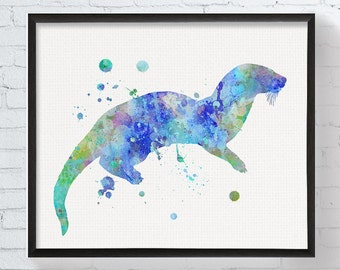 Watercolor Otter, Otter Print, Otter Art, Otter Painting, Otter Poster, Otter Wall Decor, Nursery Art, Otter Wall Art, Modern Home Decor