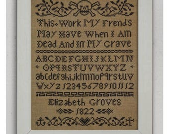 INSTANT DOWNLOAD When I Am Dead and In My Grave PDF cross stitch patterns by Dark Crosses at thecottageneedle.com Halloween October wall art