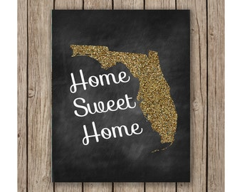 Florida Home Sweet Home Design printable wall art instant download, Print Wall Art, Wedding Decor, Bedroom Decor, Nursery art
