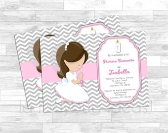 First Communion Invitation for girl. Pink, white, gray baptism or first communion. Invitación Primera Comunión de Niña, Rosa, blanca y gris.