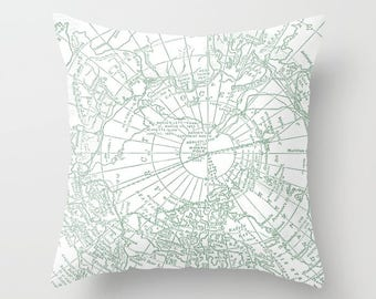 Arctic Green Map Pillow - Throw Pillow, Decor, Vintage Maps, travel, unique, Pastel green and white home decor