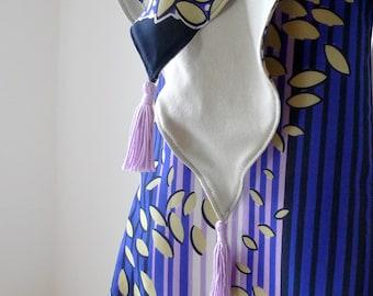 Lilac Purple Tassel Scarf, Neck Scarf, Fall Scarf, Fashion Accessories, Striped Scarf - Leaf Vintage Retro Fabric, Jersey