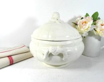 Large Sarreguemines tureen, antique soup tureen, tea stained ironstone tureen French dinnerware, French antiques, French whiteware bowl.