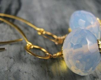 SALE Earrings, half price, opalite earrings on GOLD marquis hoops