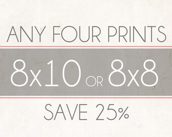 Fine Art Photo Prints, Choose Any Four 8x8 or 8x10 Photographs, Wall Decor