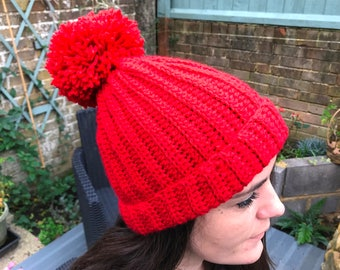 womens red beanie. Red pom pom hat. Christmas gift for her.