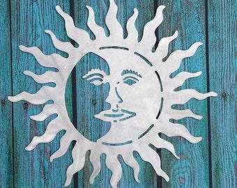 """Metal Sun and Moon, wall art, indoor, outdoor, aluminum, 22"""" diameter, for home and garden, lightweight"""