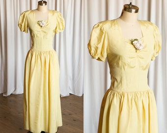 Mayfair gown | vintage 40s evening gown | yellow taffeta 1930s dress | vintage 30s yellow party / prom / formal dress | yellow 40s dress