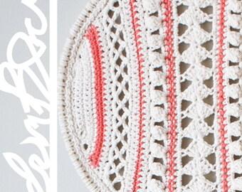 "DIY Crochet PATTERN - Lacy Stripes Dreamcatcher Inspired Wall Hanging  Size: 14"" diameter (2015006)"