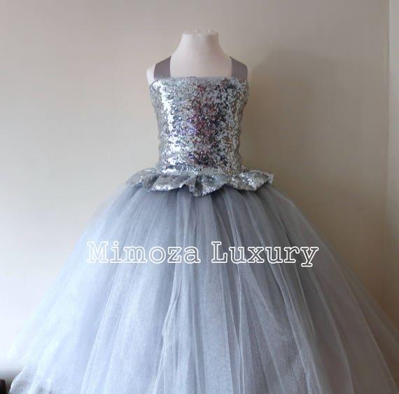 Silver Sequin Flower Girl Dress, silver bridesmaid dress, couture flower girl gown, bespoke girls dress, tulle princess dress, silver tutu