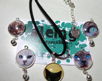 Kitty Collection: Necklace with black strap and central cameo