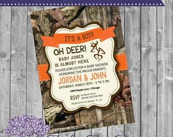 Oh Deer Baby Shower Invitation - Little Buck Baby Shower - Camo Baby Shower - Deer Shower Invite - Antlers - Baby Shower - Baby Sprinkle -