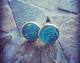Sea Blue Druzy Cabochon and Rose Gold Stainless Iron Stud Earring Set