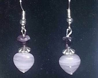 Purple Swirl Heart Dangle Earrings