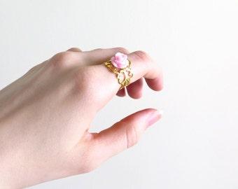 Pink Rose on Gold Filigree Adjustable Ring