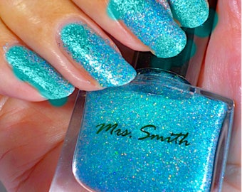 Turquoise Holographic Nail Polish Aqua Nail Polish Hand Blended Holo Nail Polishes Shimmery Turquoise Glitter Nail Polish Blue Holo Julia